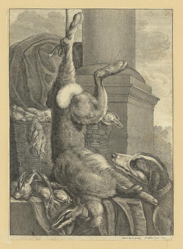 Václav Hollar – Zátiší s mrtvým zajícem, psem a ptáky, podle Peetera Boela