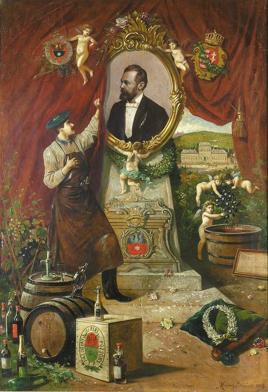Eduard Majsch – Apoteóza vinára Jozefa Palugyaya s umelcovým autoportrétom