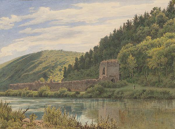 Jakob Alt – Krajina s riekou a zrúcaninou