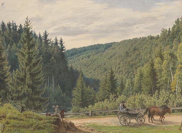 Jakob Alt – Krajina s hradskou a povozom