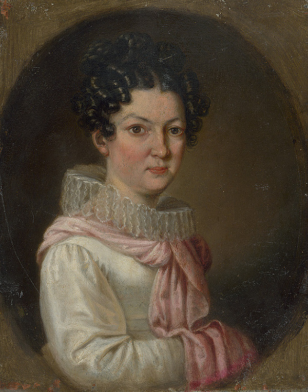 Stredoeurópsky maliar zo začiatku 19. storočia – Podobizeň ženy v bielych šatoch v oválnom ráme