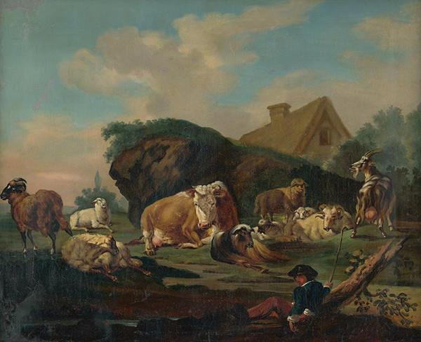 Stredoeurópsky maliar z 2. polovice 19. storočia - Krajina s odpočívajúcim stádom