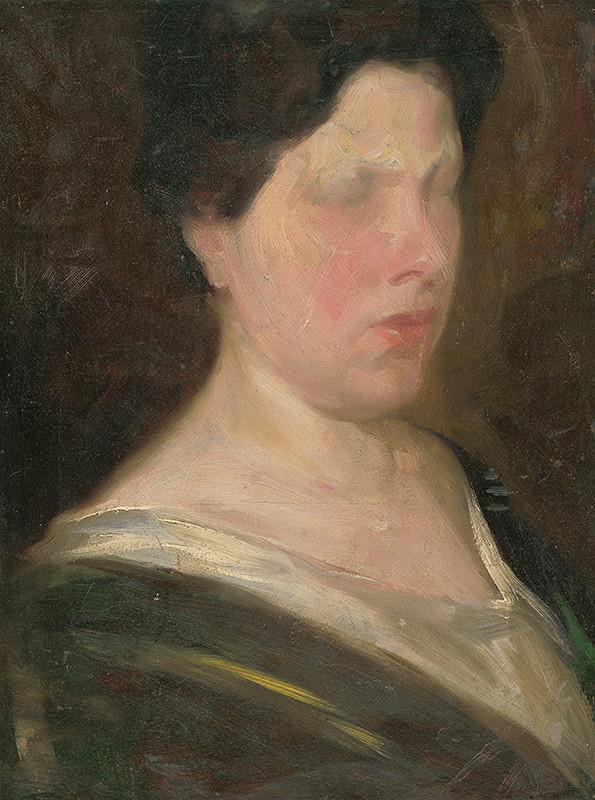 Ľudovít Pitthordt - Portrét ženy - štúdia