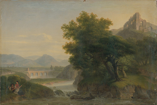 Rakúsky maliar z 19. storočia – Romantická krajina so zrúcaninou