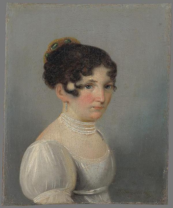 Friedrich Johann Gottlieb Lieder – Portrét dámy v bielych šatách
