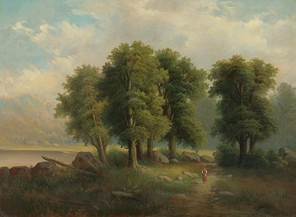 Stredoeurópsky maliar z polovice 19. storočia – Krajina s jazerom a člnom