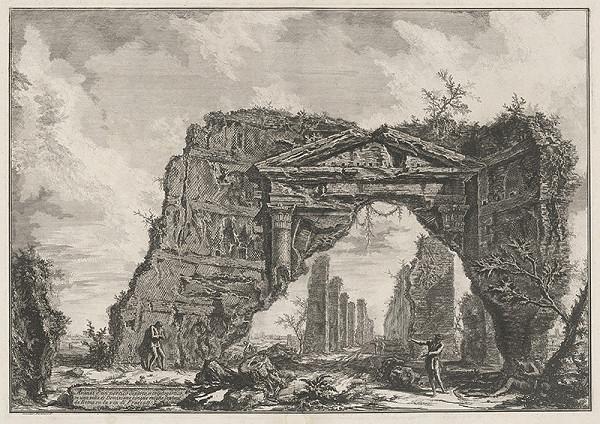 Giovanni Battista Piranesi – Pohľad na portikus (tajný východ) vily Domiziana na Via di Frascata pri Ríme