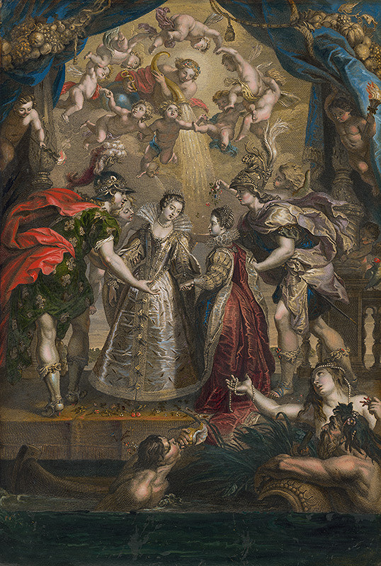 Jean Marc Nattier, Peter Paul Rubens, Benoit Audran – Zámena dvoch princezien z Francúzska a zo Španielska v Bidassoa v Hendaye