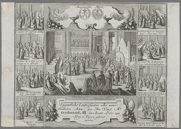 Stredoeurópsky grafik z 1. polovice 17. storočia - Korunovácia Ferdinanda III. v Šoprone v roku 1625