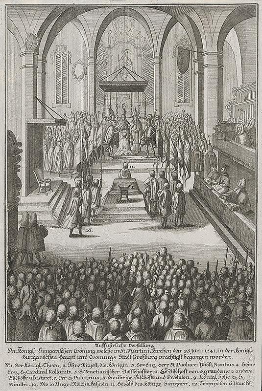 Stredoeurópsky grafik z 18. storočia –  Korunovácia Márie Terézie v dóme roku 1741