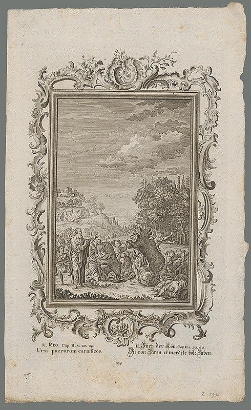 Stredoeurópsky grafik z 18. storočia – Dve medvedice trhajú ľudí....