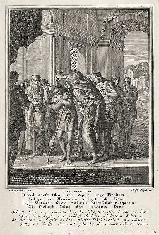 Caspar Luyken, Christoph Weigel – Pomazanie Dávida