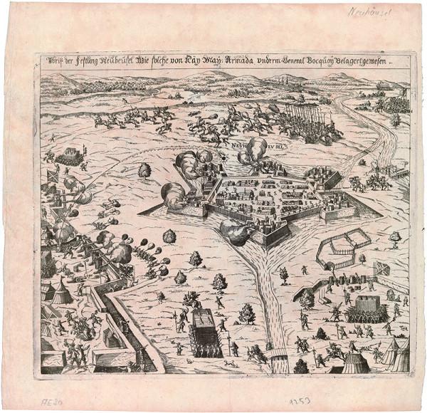 Nemecký grafik z 1. polovice 17. storočia - Obliehanie Nových Zámkov