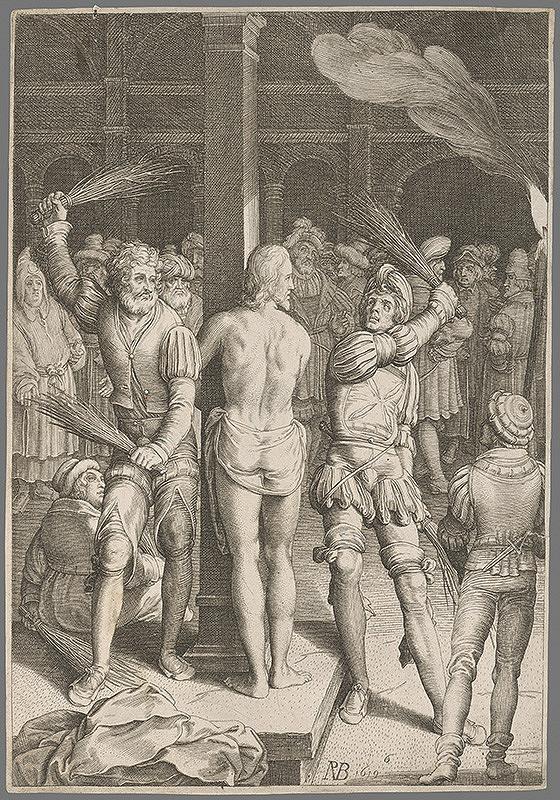 Nemecký grafik zo 17. storočia - Bičovanie Ježiša