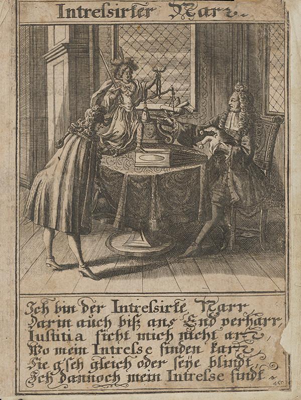 Stredoeurópsky grafik z 1. polovice 18. storočia – Záujemci a blázon