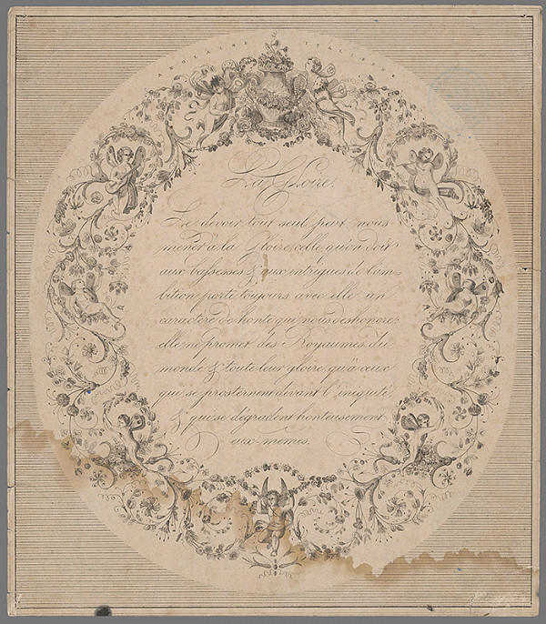 Francúzsky grafik z 18. storočia – List s maximou