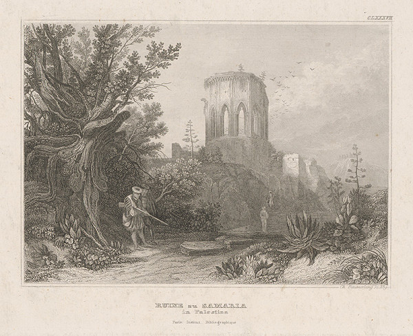 Stredoeurópsky grafik z 19. storočia – Zrúcaniny Samaria