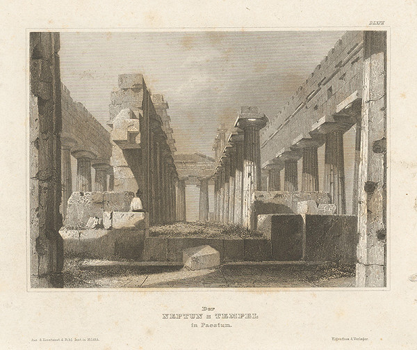 Stredoeurópsky grafik z 19. storočia - Zrúcaniny Neptunovho chrámu