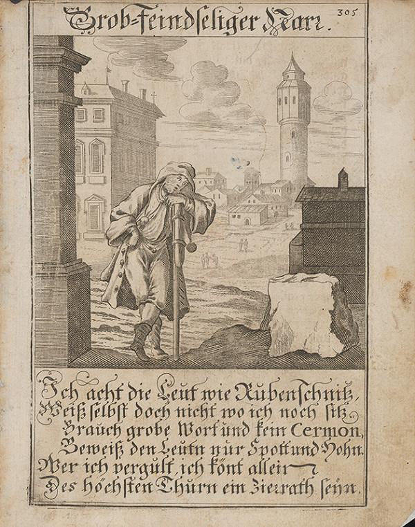 Nemecký grafik z 18. storočia – Neokrôchaný blázon