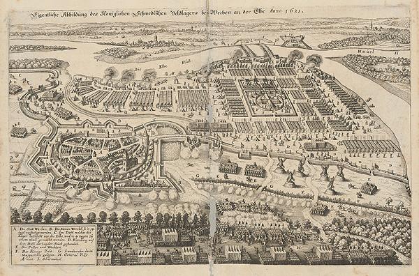 Stredoeurópsky grafik z 1. polovice 17. storočia - Švédsky tábor pri Werbere r.1631