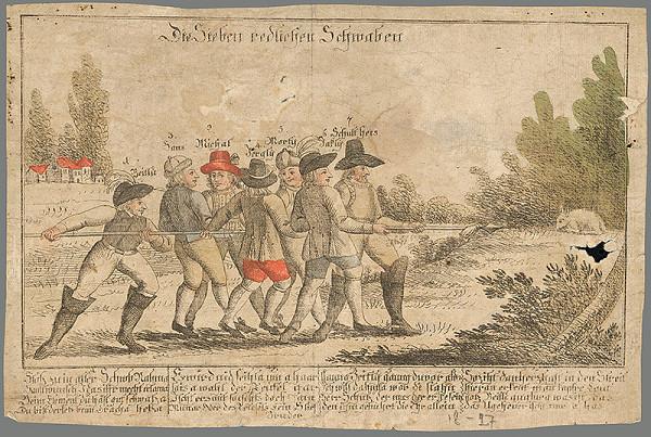 Stredoeurópsky grafik z 1. polovice 19. storočia – Sedem poctivých Švábov