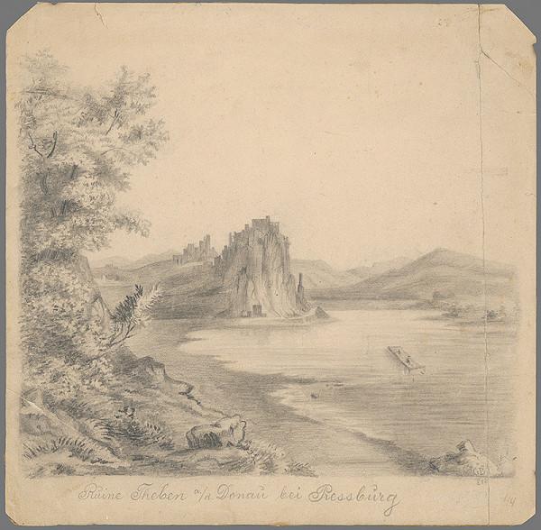 Stredoeurópsky grafik z 1. polovice 19. storočia - Zrúcaniny Devína na Dunaji pri Bratislave