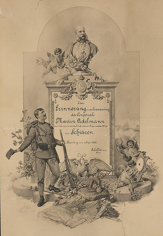 Stredoeurópsky grafik z 2. polovice 19. storočia - Pamätná listina pri vymenovaní M.Adelmanna za strážcu