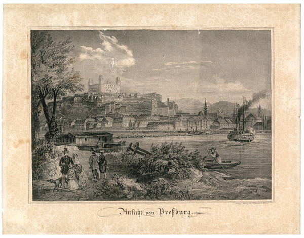 Fritz Werner - Bratislava v 19.storočí-pohľad z juhu
