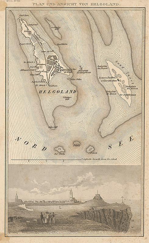 Nemecký grafik z 19. storočia - Plán a pohľad na ostrov Helgoland