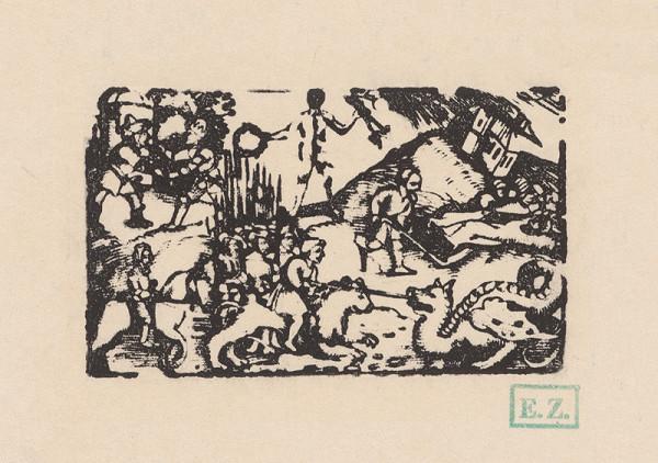 Erhard Schön - Kalendárové záhlavie s jazdcom na levovi