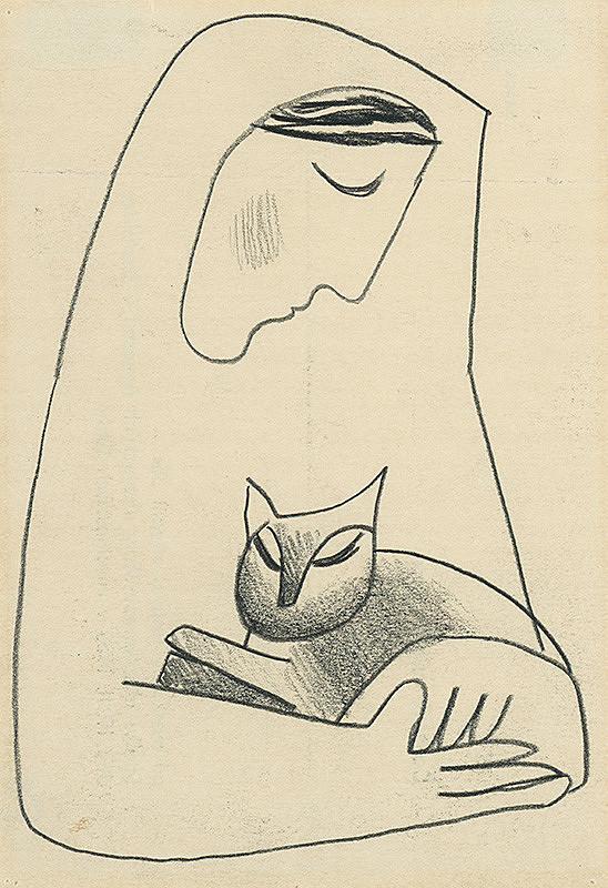 Mikuláš Galanda – Dievča s mačkou v náručí