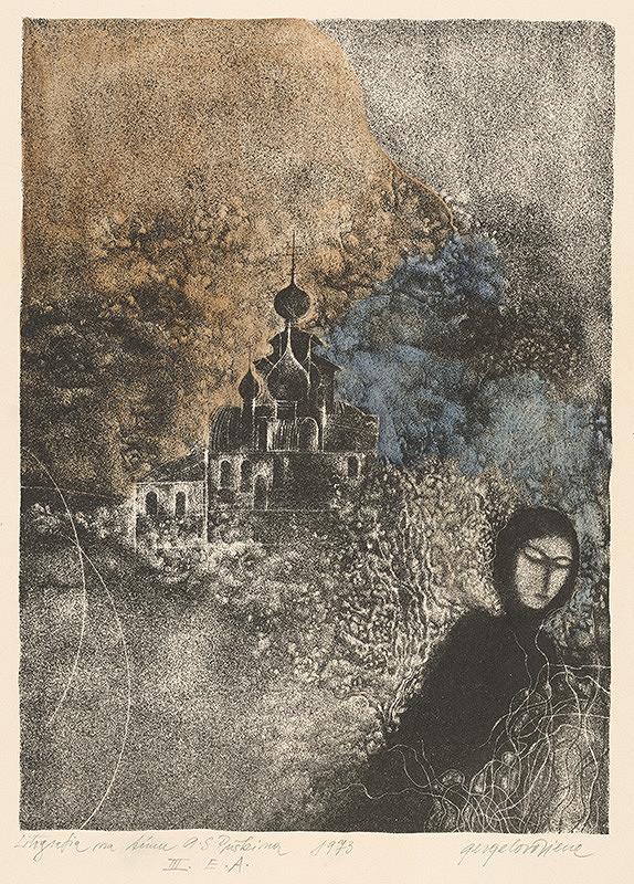 Viera Gergeľová – Litografia na tému A.S.Puškina XII.