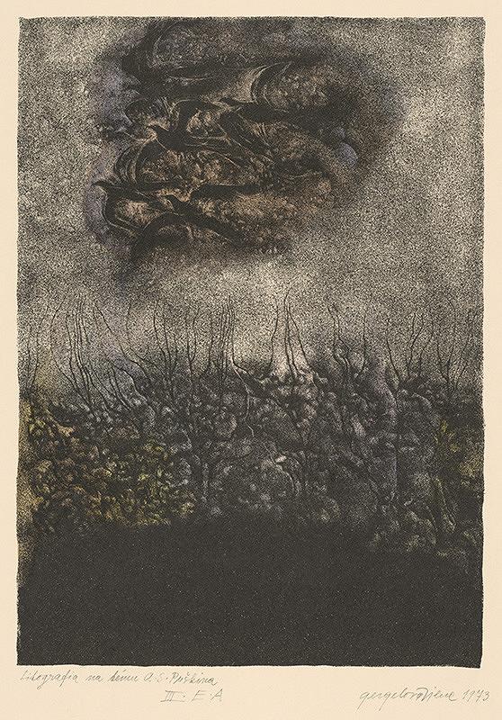 Viera Gergeľová – Litografia na tému A.S.Puškina XV.