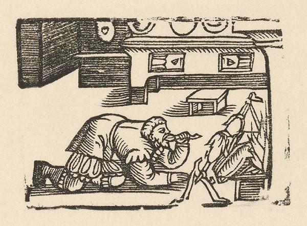Nemecký grafik z polovice 16. storočia - Enšpígl ujedá z pečienky