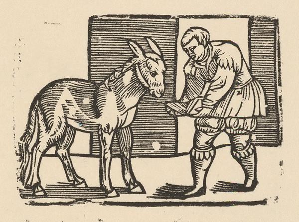 Nemecký grafik z polovice 16. storočia - Enšpígl učí somára čítať