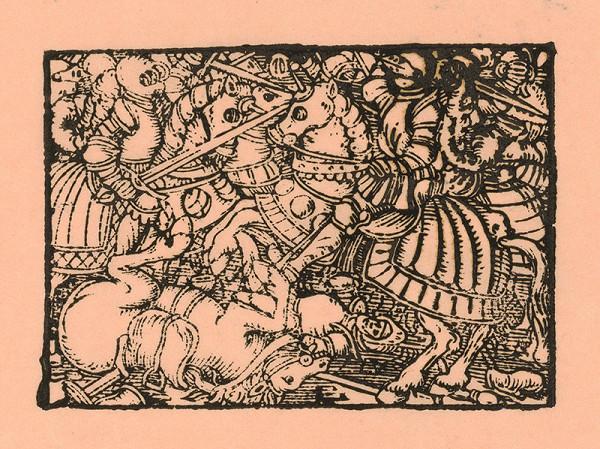 Nemecký grafik z polovice 16. storočia – Boj rytierov na koňoch s mečmi