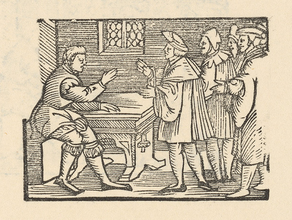 Nemecký grafik z polovice 16. storočia - Enšpígl kantorom