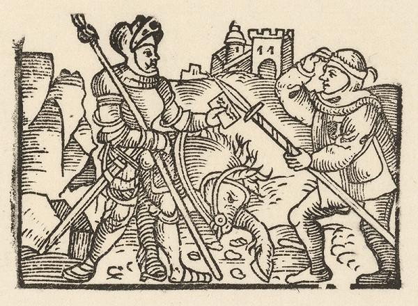Nemecký grafik z 1. polovice 16. storočia – Rytier podáva správu jednému zo strážcov hradu