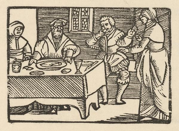 Nemecký grafik z 1. polovice 16. storočia – Enšpígl pri hostine