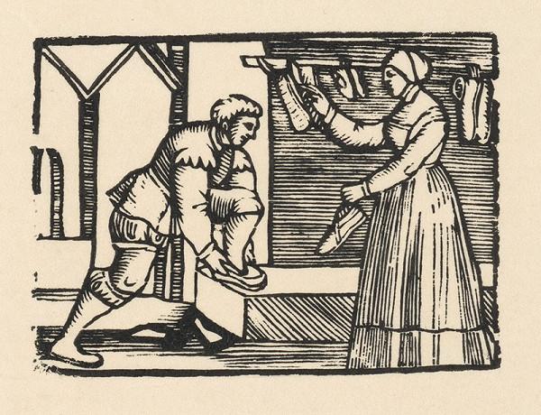 Nemecký grafik z 1. polovice 16. storočia – Enšpígl skúša topánky