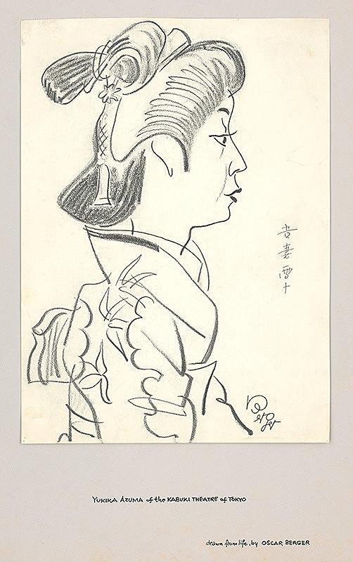 Oskar Berger – Yukika Azuma - karikatúra herečky tokijského divadla Kabuki