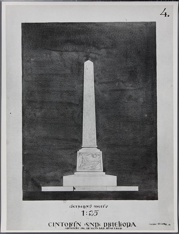 Ladislav Beisetzer, Neznámy autor - Cintorín SNP v Priekope. Pohľad na obelisk (M1:25)