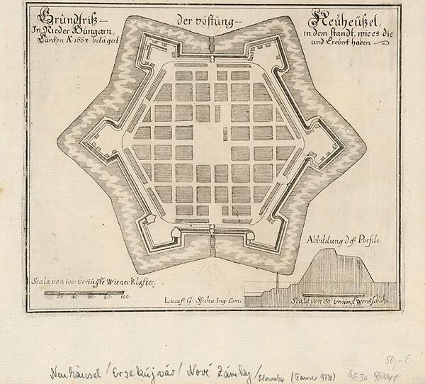 Neznámy grafik – Pôodorys pevnosti Nové Zámky