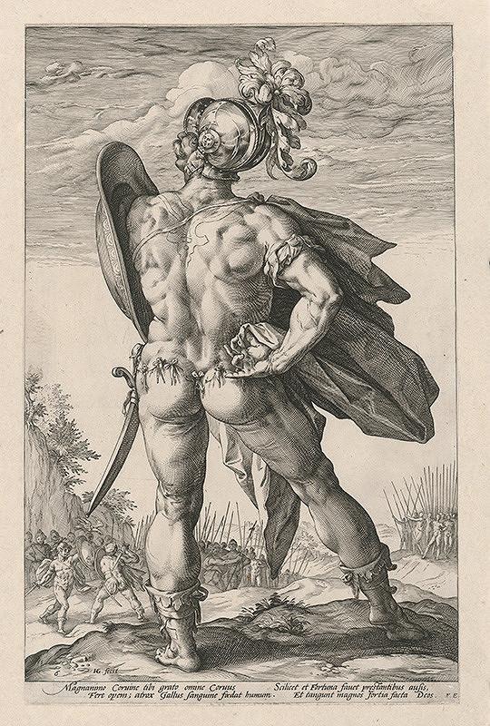 Hendrick Goltzius – Rímsky žoldnier v boji s Korinťanmi