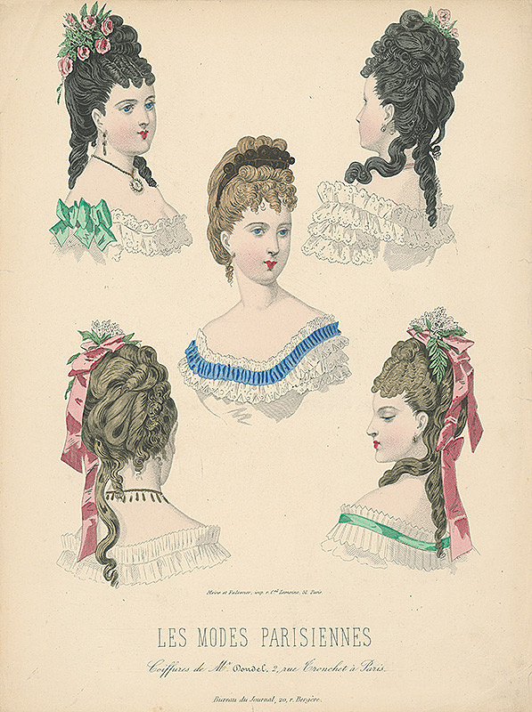 Francúzsky karikaturista z 19. storočia, Francúzsky grafik – List z módneho časopisu Les Modes Parisiennes. Účesy Mr.Doudela