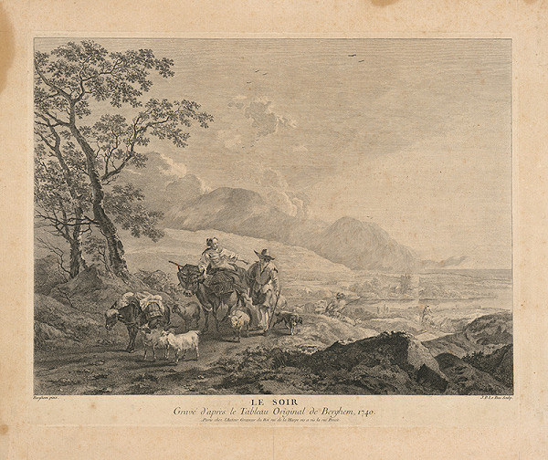 Jacques Philippe Le Bas, Nicolaes Claes Berchem st. – Večer