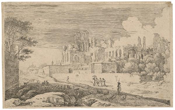 Nemecký grafik zo 17. storočia – Krajina so zrúcaninou