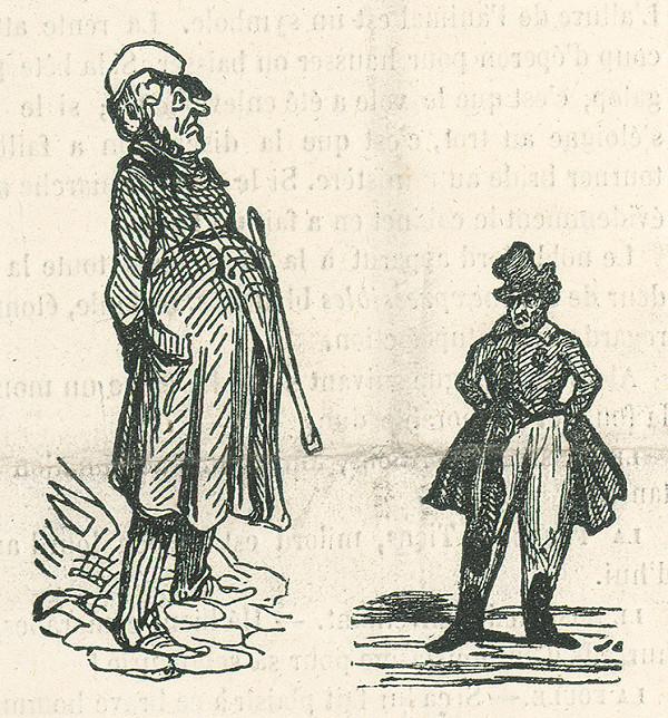 Francúzsky karikaturista z 19. storočia – Dve postavy