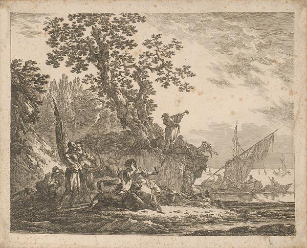 Nizozemský autor z 18. storočia – Pobrežie s figurálnou stafážou