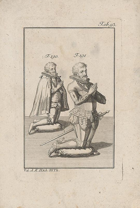 Západoeurópsky autor z 18. storočia – Dvaja kľačiaci rytieri v okruží